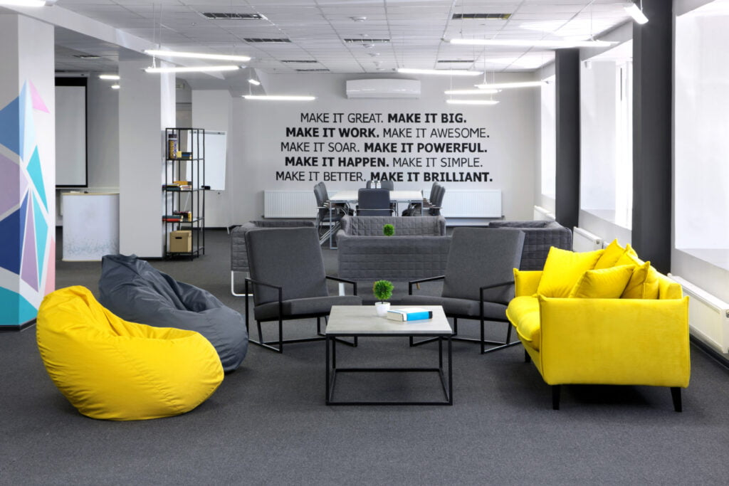 Yellow is a cheery color in the workplace