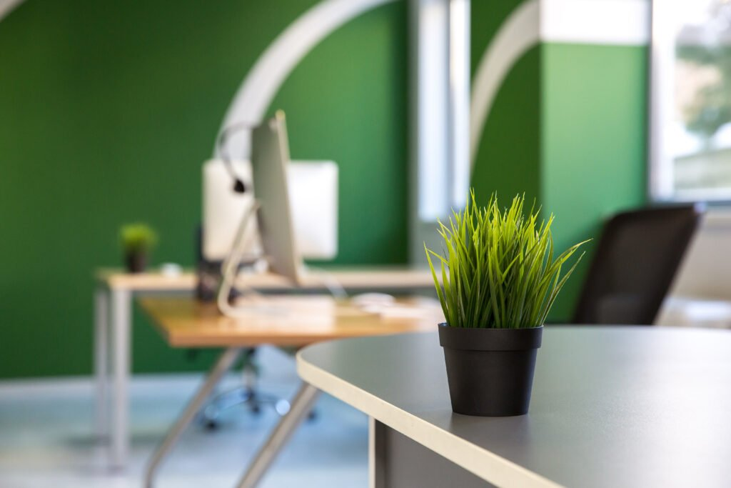 Green is a popular color in the workplace